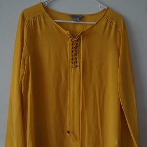 Ruff Hewn Yellow Sheer Lace Up Blouse L